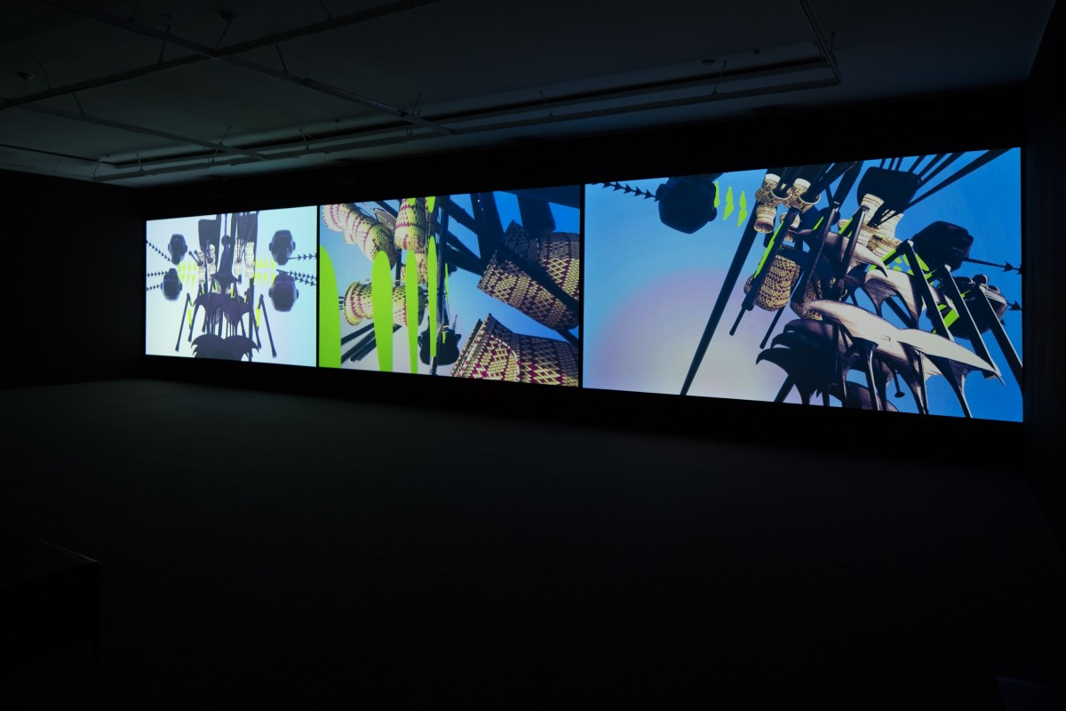 Rangituhia Hollis, Oho Ake , 2016 (install view) 3 channel colour HD video, 6.2 channel audio, 10:08 mins looped commissioned by Te Tuhi, Auckland photo by Sam Hartnett