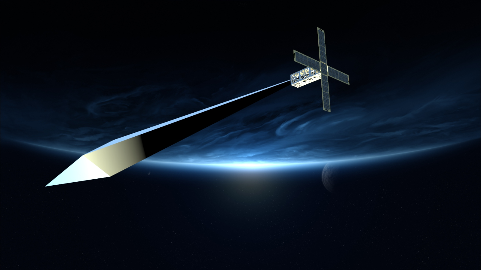 Trevor Paglen, Orbital Reflector , 2018, digital rendering. Copyright of the artist and Nevada Museum of Art