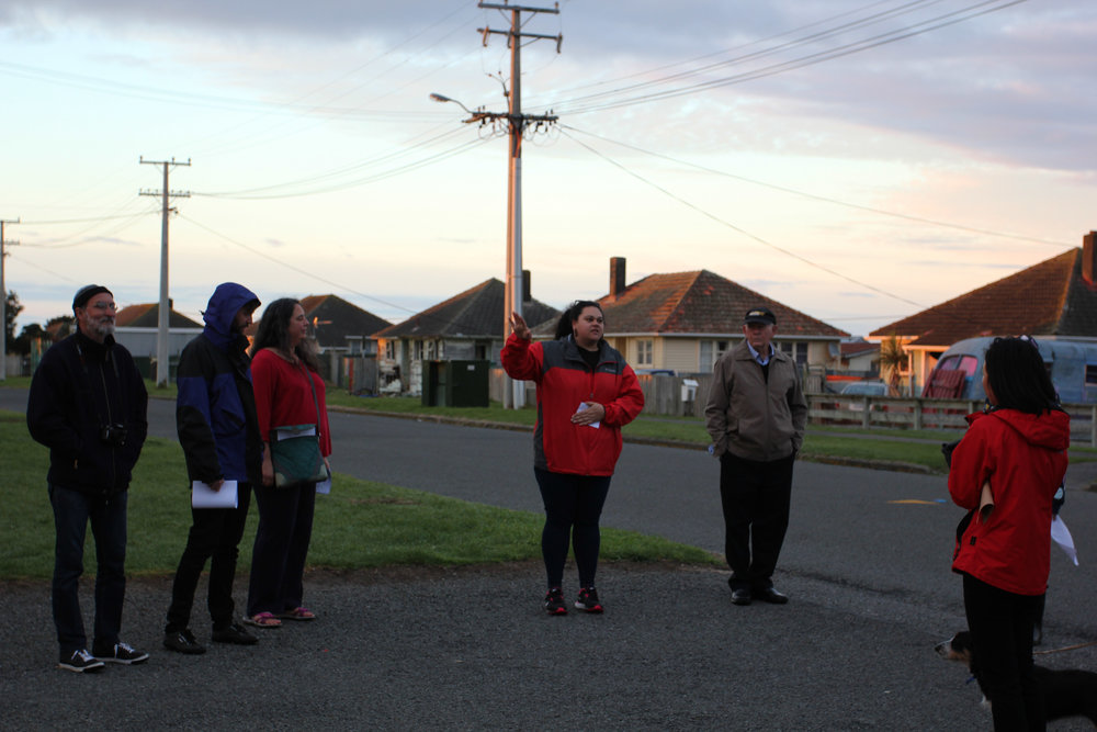 Darcell Apelu,  Generation Exchange (Patea) , 2016 a walking tour of Patea, 6:00-8:00 am, 24 September 2016, photo by Bruce E. Phillips.