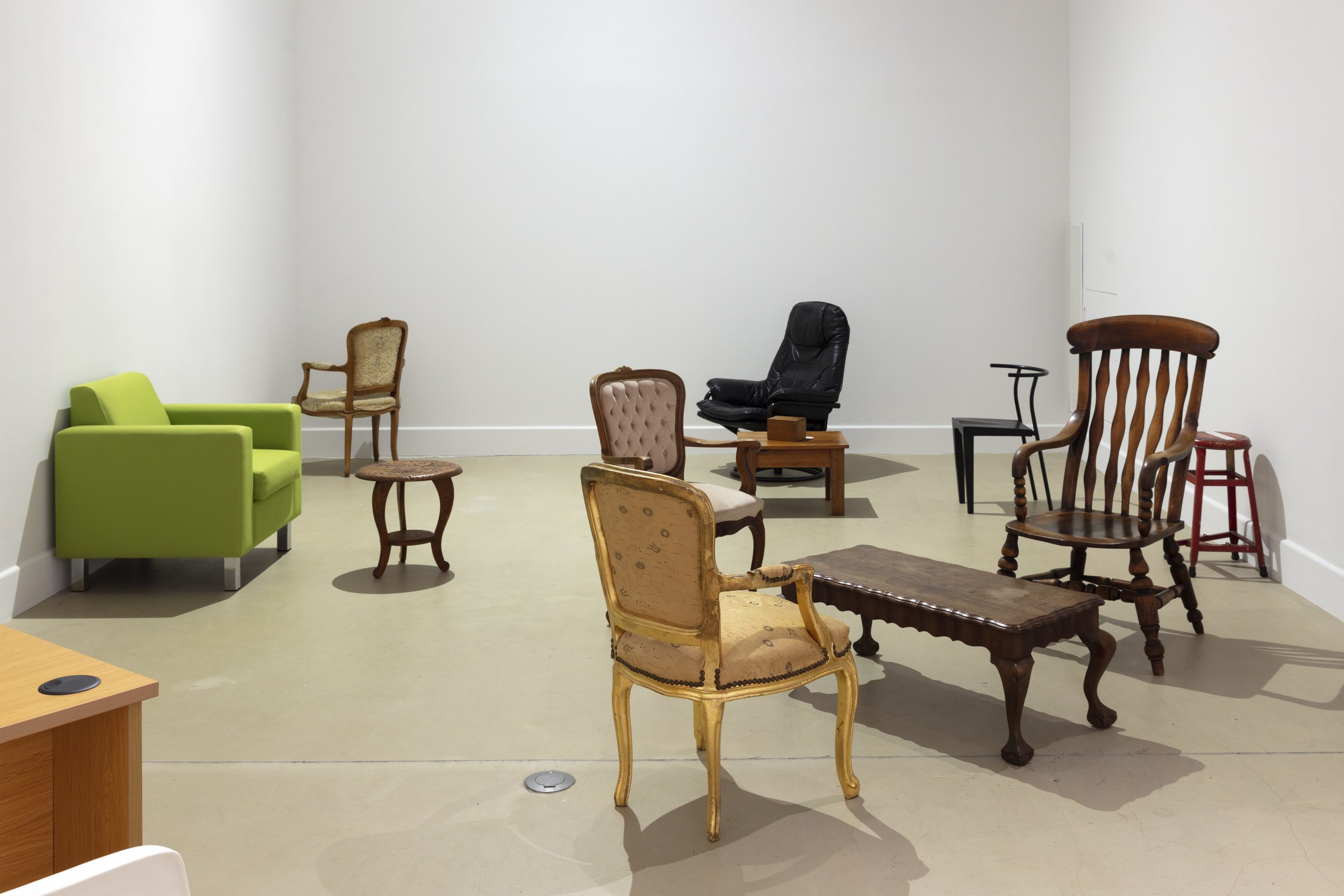 Haegue Yang,  VIP's Union , 2018 (first created 2001), locally donated chairs and tables, dimensions variable. Installation view of Triple Vita Nestings , Govett-Brewster Art Gallery, New Plymouth, 2018–2019, courtesy of the artist and Govett-Brewster Art Gallery