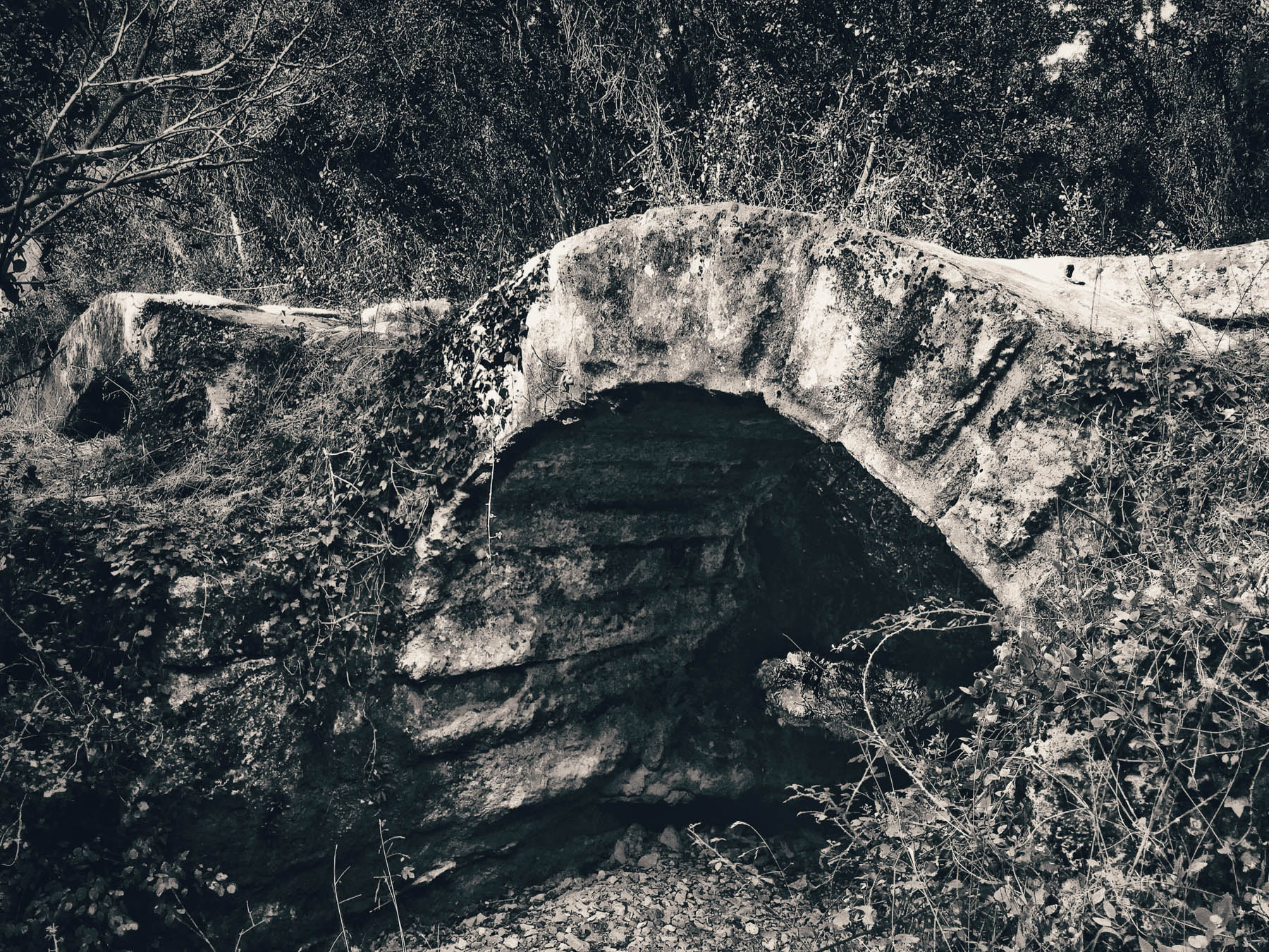 Three arches spanning the Bornègre, on top of which the aqueduct was constructed.  Interesting because of the arches, made up of blocks of interlocking stone that individually cover the complete width of the bridge.
