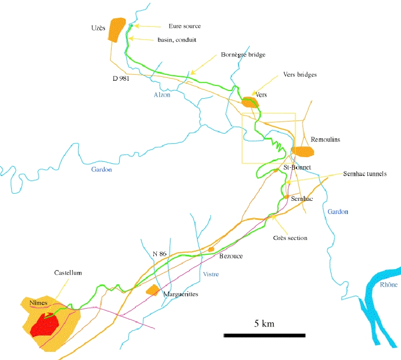 Graphic map of the route in green, showing the sites of most of the still visible portions of the aqueduct.