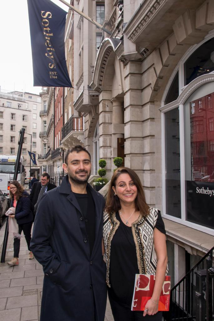 Ghadyanloo and Shoresh outside Sotheby's in New Bond Street, London following the successful sale.