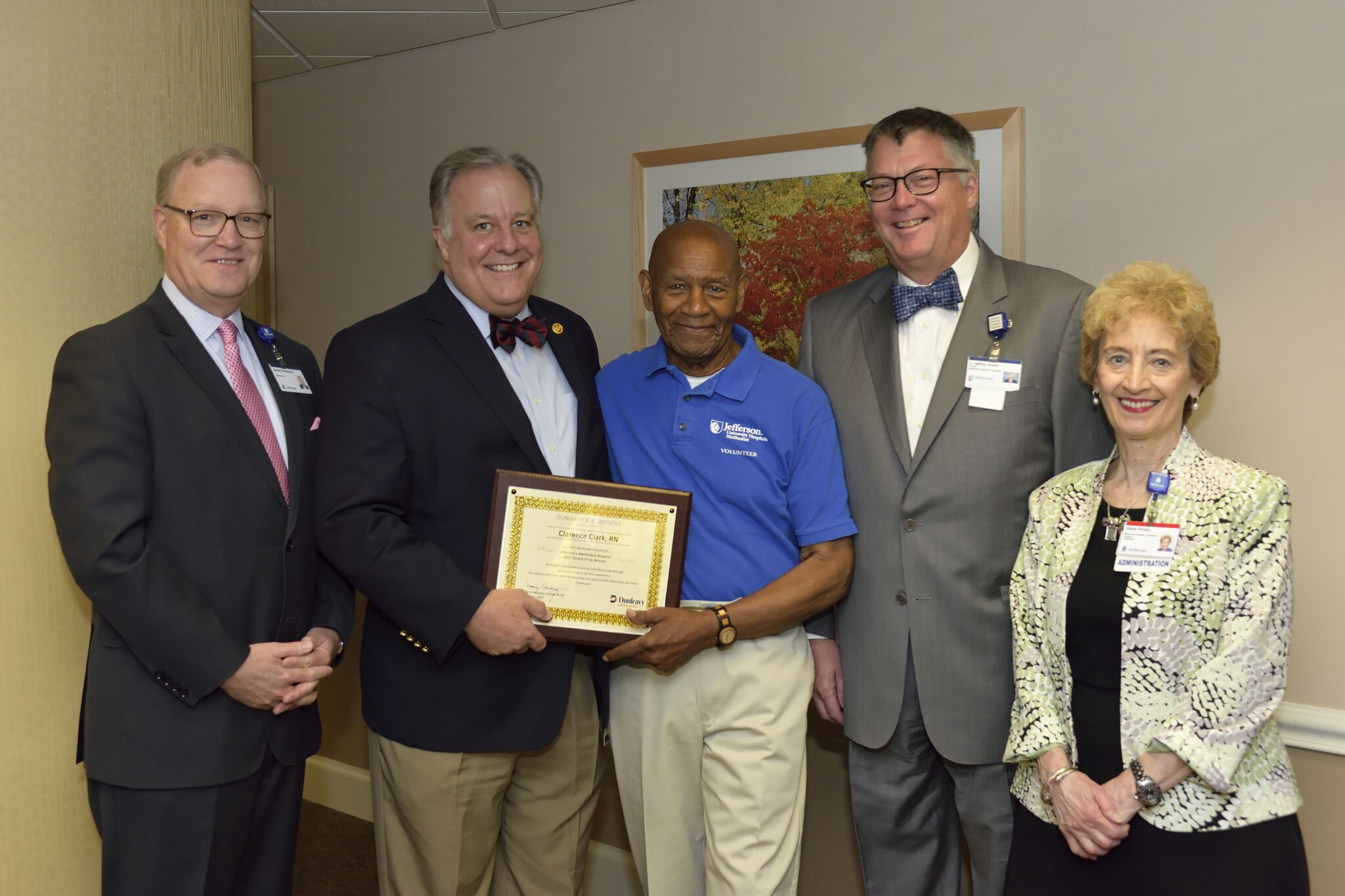 Presenation of the Grand Prize to Clarence Clark, RN of Jefferson's Methodist Hospital and hospital Board Members