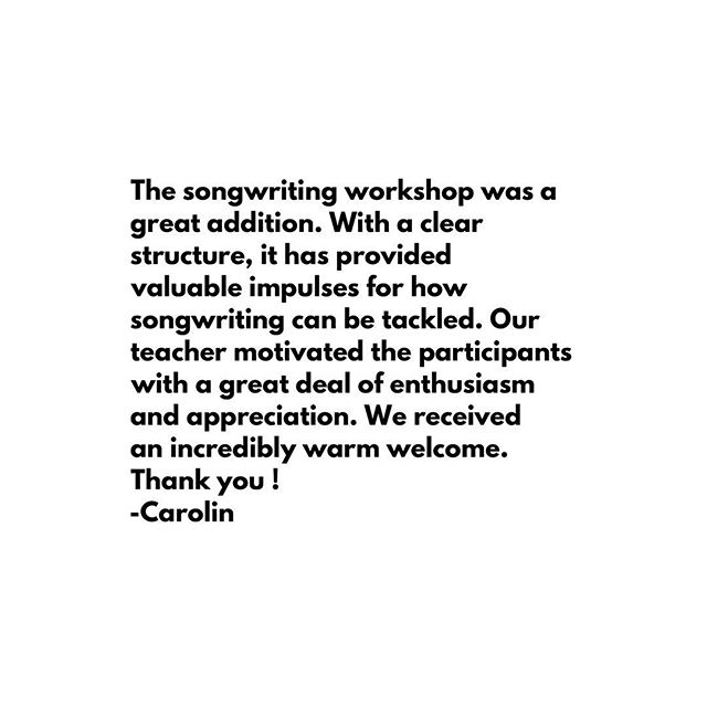 Look what our songwriters are saying about the songwriting workshop @lizandthelions hosted over the weekend! We are so excited that everyone enjoyed it and more importantly we are thrilled about the MUSIC that they produced 🎶 . Who's coming for the next one? . #songwriting #songwritingworkshop #musikworkshop #thewhiterabbitarts #learntowriteasong #musik🎧