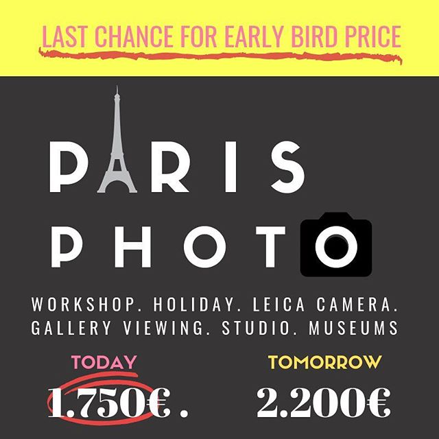 LAST CHANCE FOR EARLY BIRD PRICE for our Photography workshop in Paris! . Just imagine a week in Paris, learning photography from the best @leica_camera and @janschlegel , while taking photos throughout the city and learning in the studios. But don't worry, we want to give you plenty of time to roam the streets of Paris, sipping wine and eat croissants under the Eiffel Tower. . SIGN UP TODAY TO CATCH THE WORM! . #parisphotography #parisphotoworkshop #thewhiterabbitarts #parisart #photographyinparis #earlybird