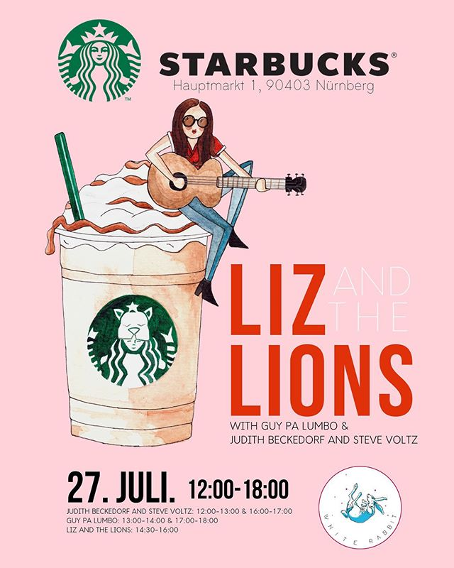 "Tomorrow @thewhiterabbitarts is partnering with @starbucks to host an incredible concert in downtown Nürnberg! From 12-18:00 at Hauptmarkt 1! We will have live performances by @guy.palumbo Judith Beckedorf, Steve Voltz and headlining @lizandthelions . We are so excited to take ""White Rabbit Events"" to the next level and partner more with our local and global neighbors! . Come on out! . #thewhiterabbitarts #starbucksnürnberg #starbucksnuremberg #starbucksconcert #nürnbergmusik #livemusiknürnberg #thewhiterabbitevents"
