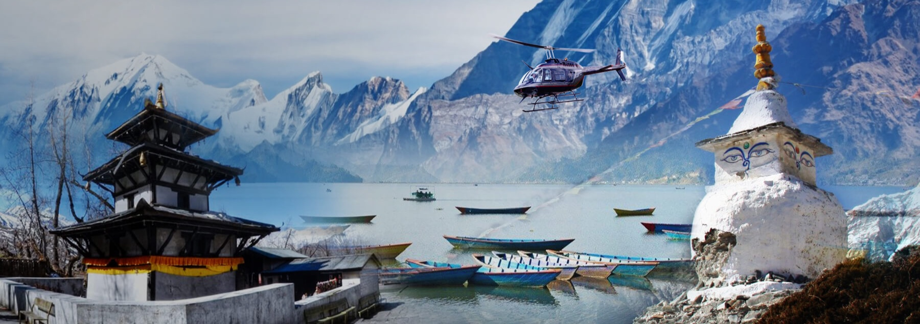 Combined collage images of Pokhara, Annapurna Mountain and Muktinath