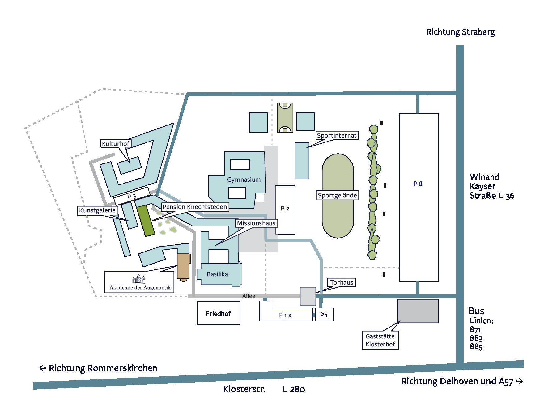Übersichtsplan Dormagen Knechtsteden ZVA Akademie Parken