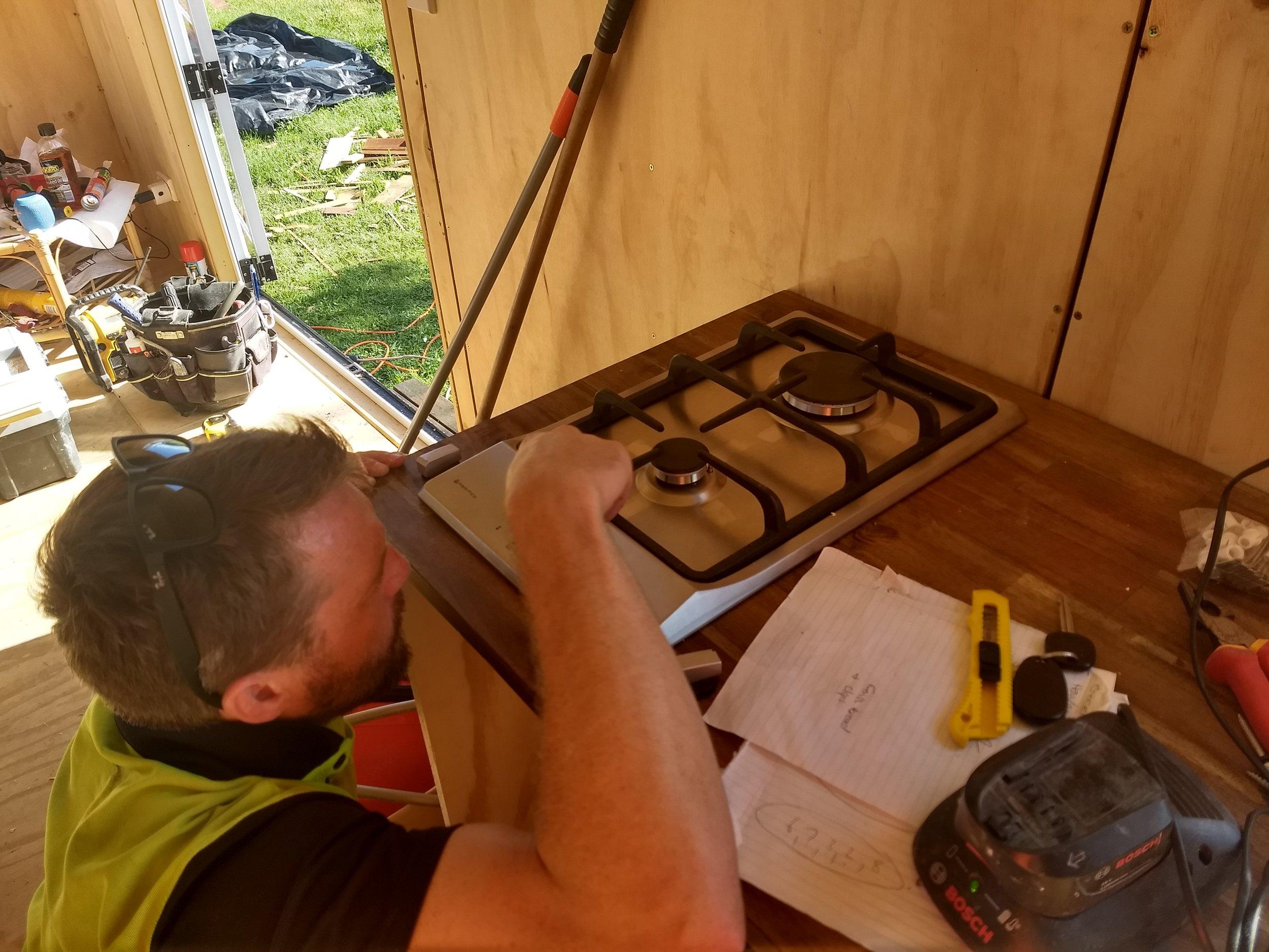 Craig calibrating the hob.