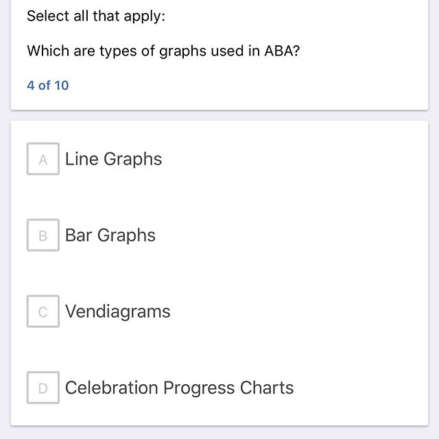 Scroll through for the answer and get a peek at one of our explanation section components. Let us know how you did! The app courses further explain this content with the support of video modules, gif based explanations, citations for further reading and flashcard sets. . . #abaexam #aba #abatestprep #abatestprepapp #bcba #bcbastudy  #rbt #rbtstudy #bcbaexam #bcbaexamprep #onmywaytobcba #happystudying #abaeveryday #everydayaba #appliedbehavioranalysis
