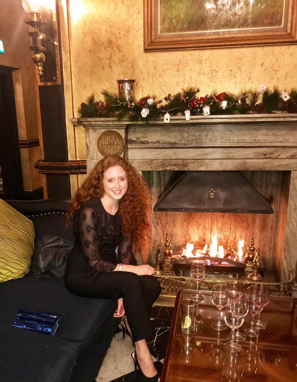 Toasting by the fire at the Meyrick Hotel