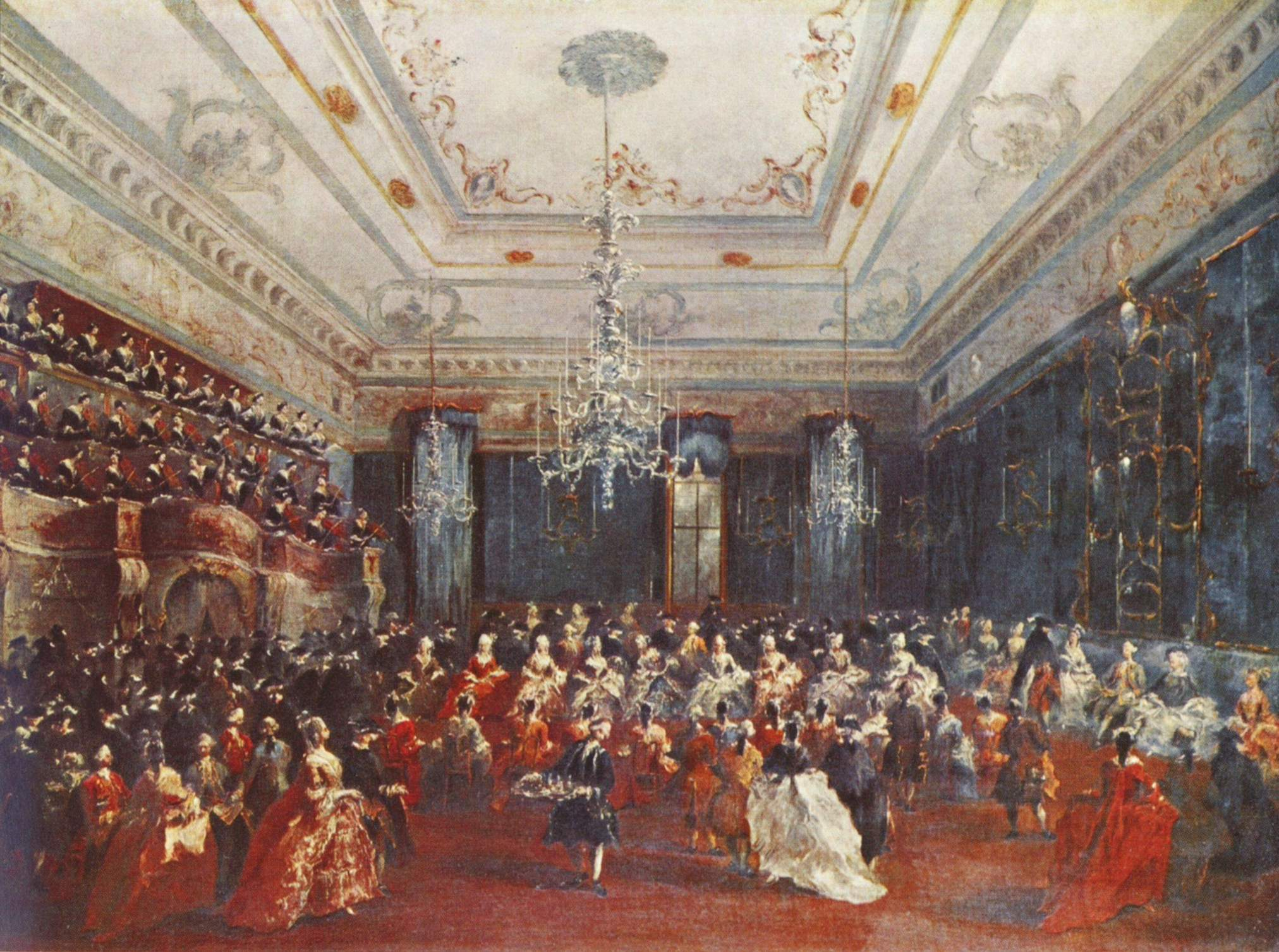 Concerts would have been given in a hall such as the one depicted in Francesco Guardi's (1712-1793) Venezianisches Galakonzert (1782)
