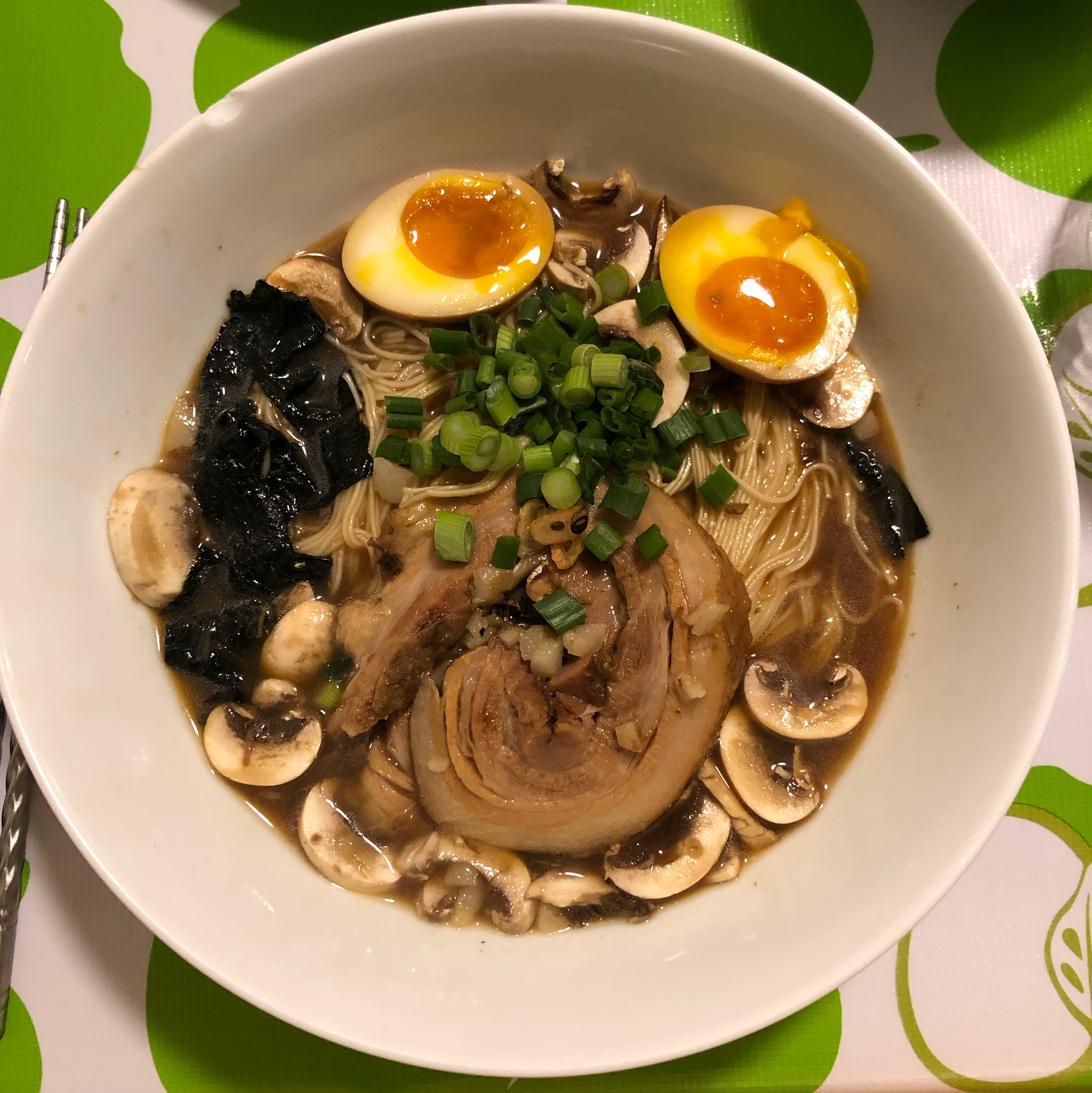 Homemade Tonkatsu ramen, chashu braised pork belly, chashu marinated egg, nori, mushrooms, scallion