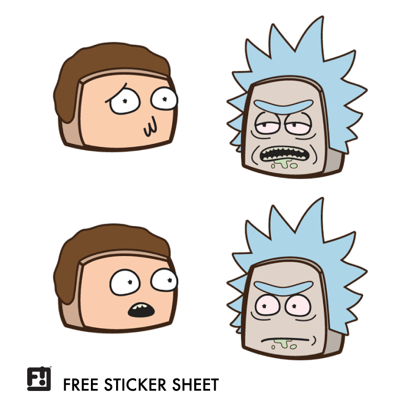 Rick and Morty Boxheadz Stickers
