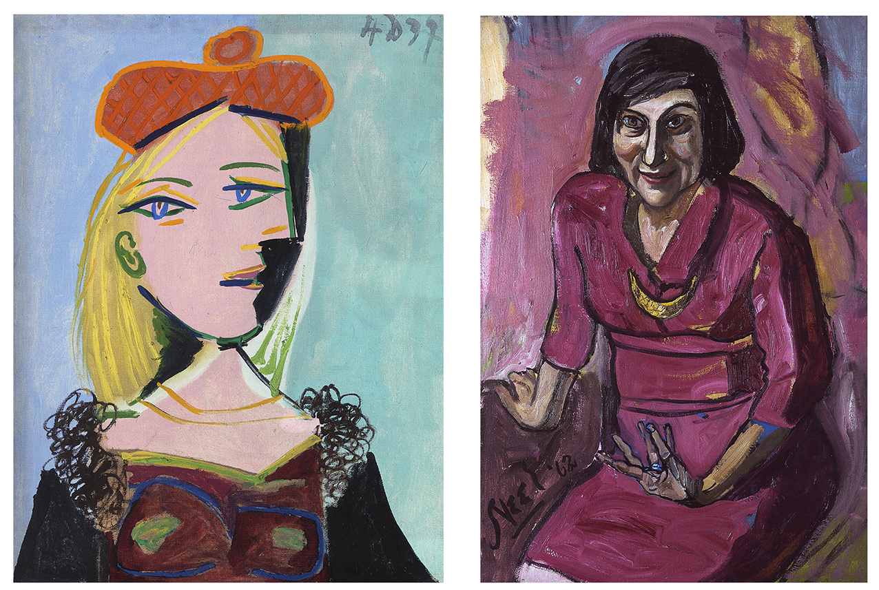 Left: Pablo Picasso,  Femme au béret orange et au col de fourrure (Marie-Thérèse),  1937 Right: Alice Neel,  Lida Moser , 1962