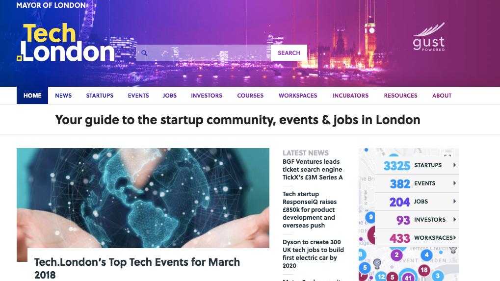 Tech.Londonホームページ。  出典:https://www.tech.london/
