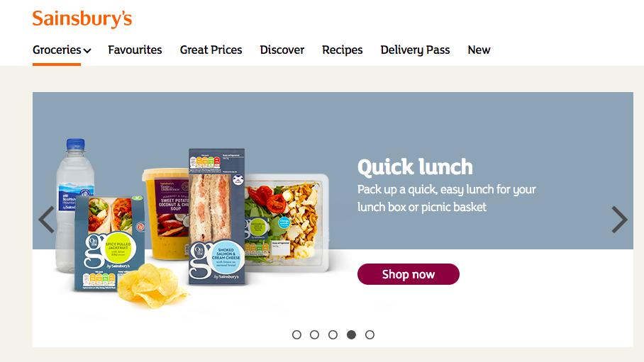 イギリス大手スーパーマーケット、セインズベリー( Sainsbury )ホームページ。