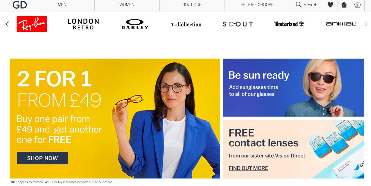 イギリスではよくある「2-for-1」キャンペーン(2つ購入したら1つは無料) 出典: https://www.glassesdirect.co.uk/
