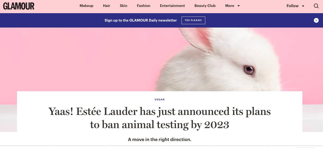 出典: https://www.glamourmagazine.co.uk/article/estee-lauder-cosmetic-testing-ban