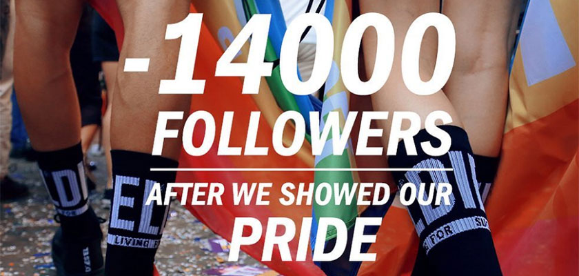 出典: https://digitalagencynetwork.com/diesel-celebrates-losing-14000-followers-for-the-brands-pride-collection/