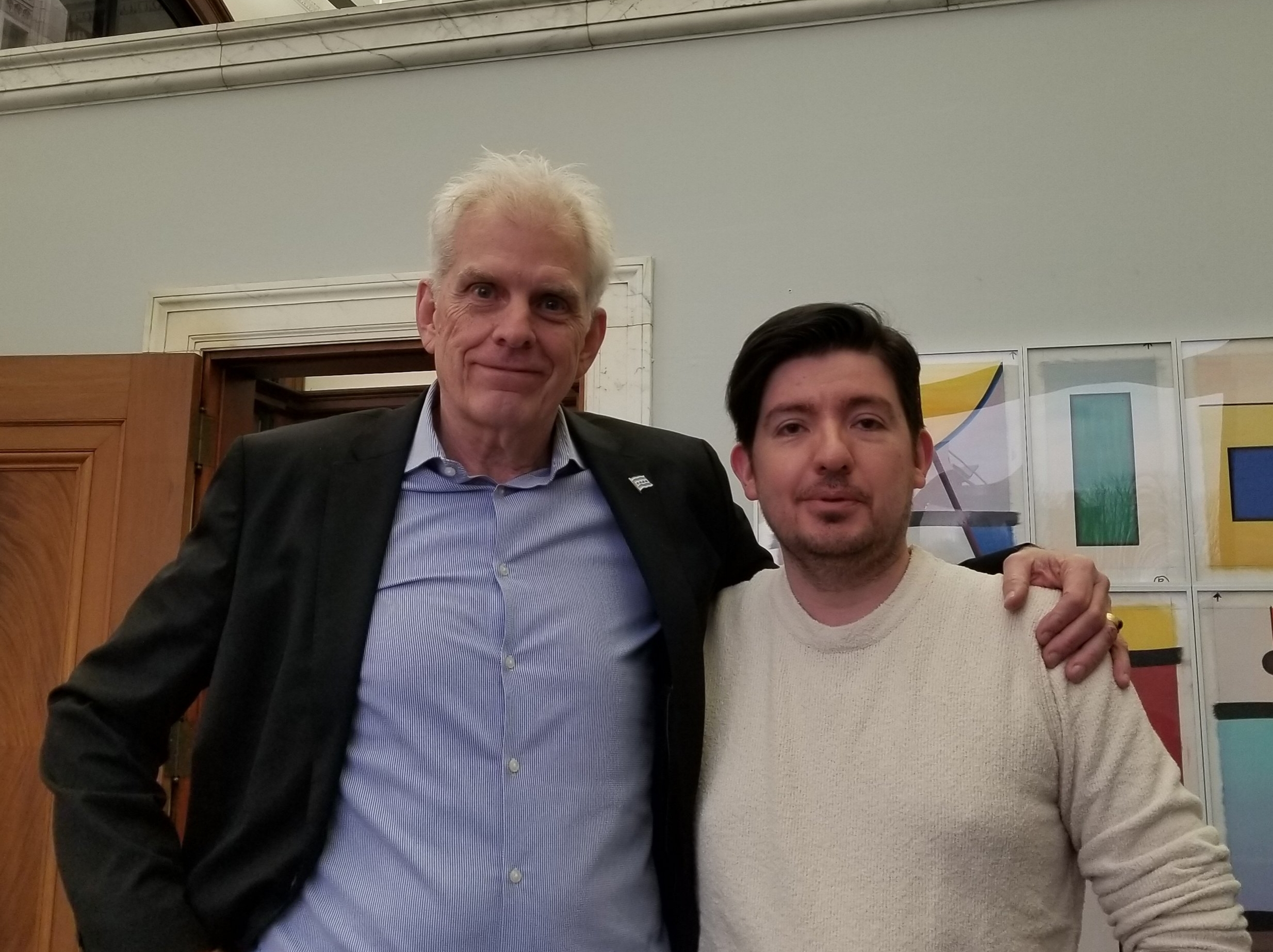 Chicago DCASE Commissioner Mark Kelly and WDCB's Gary Zidek