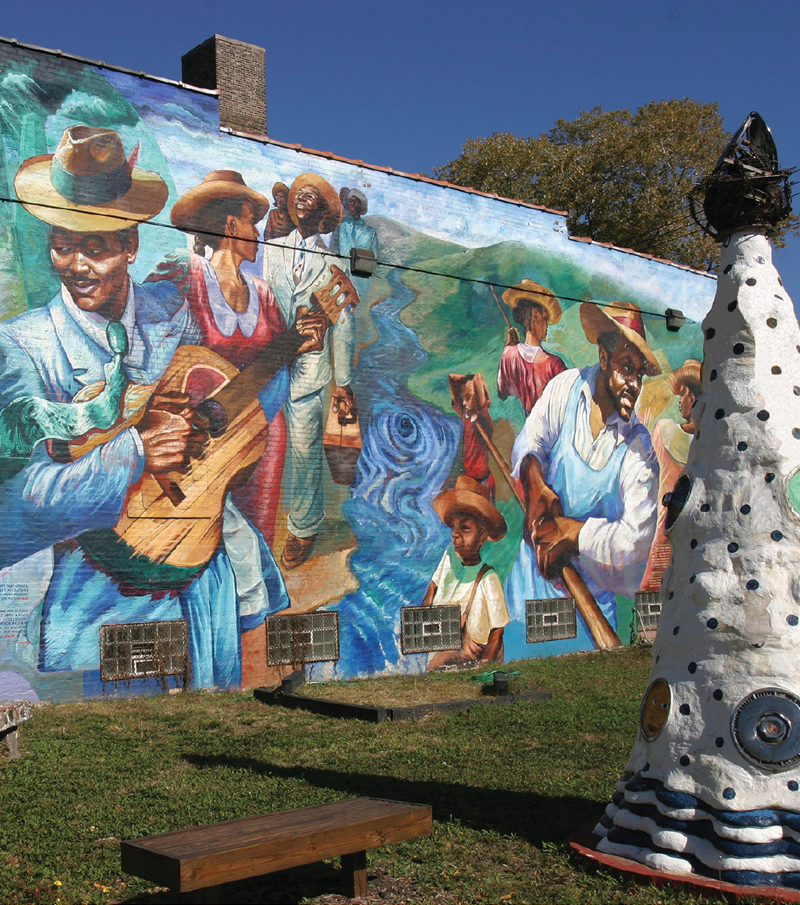 """""""The Great Migration"""" by Marcus Akinlana. Located at the Elliott Donnelly Youth Center at 3947 S. Michigan Avenue."""