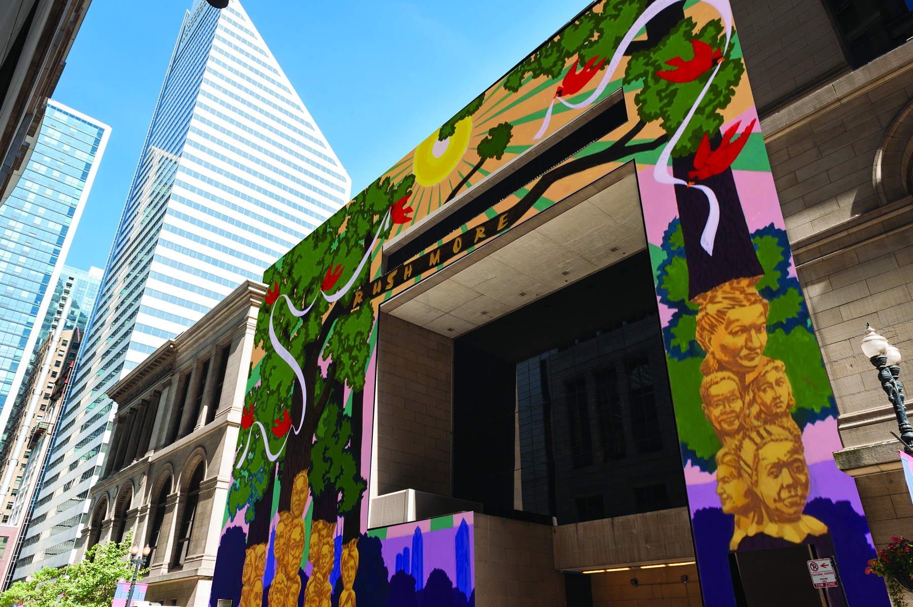 Kerry James Marshall mural on the west end of Chicago Cultural Center
