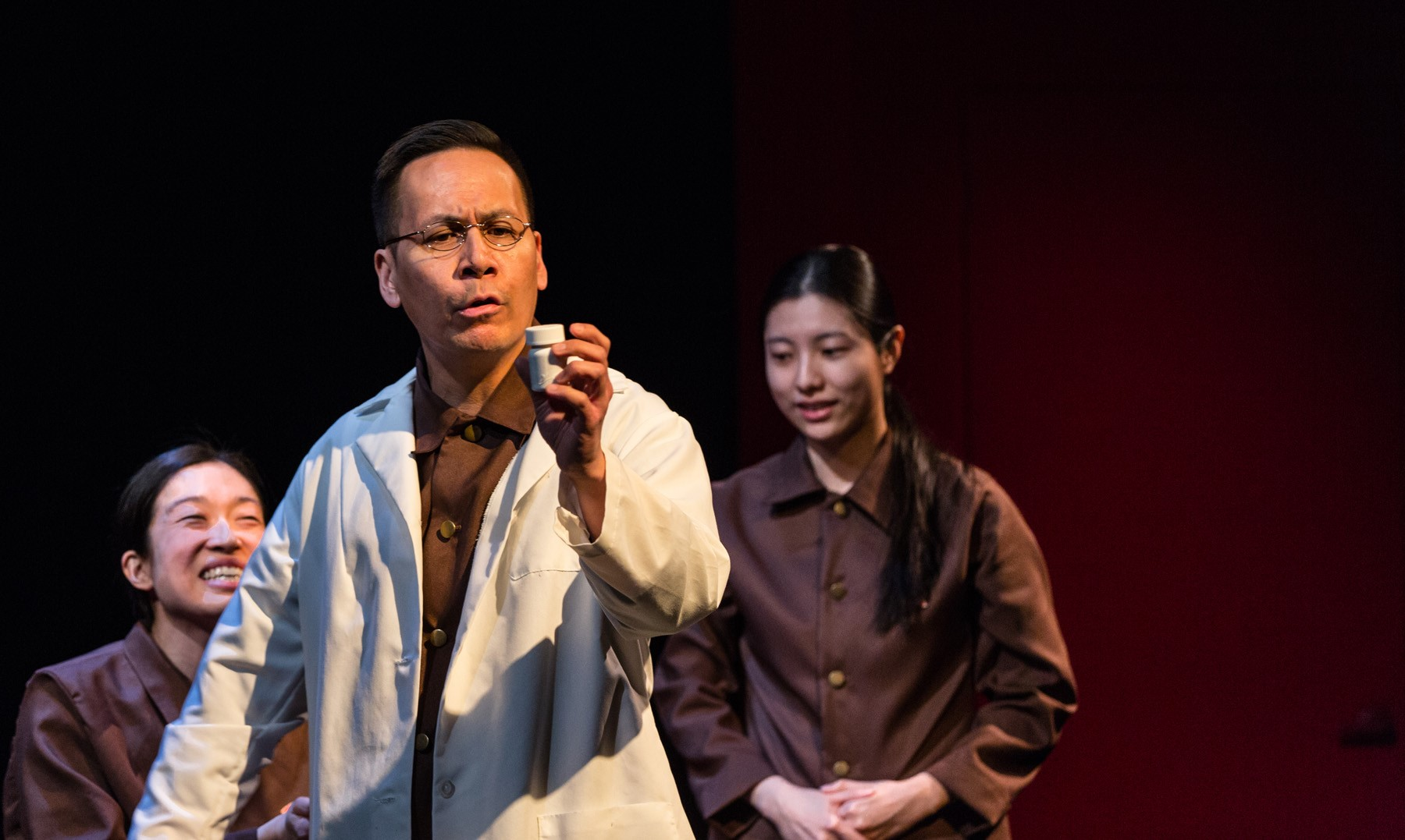 Helen Joo Lee , Gordon Chow and  Jin Park in  Sideshow Theatre Company' s  YOU FOR ME FOR YOU . Photo by Michael Tutino.