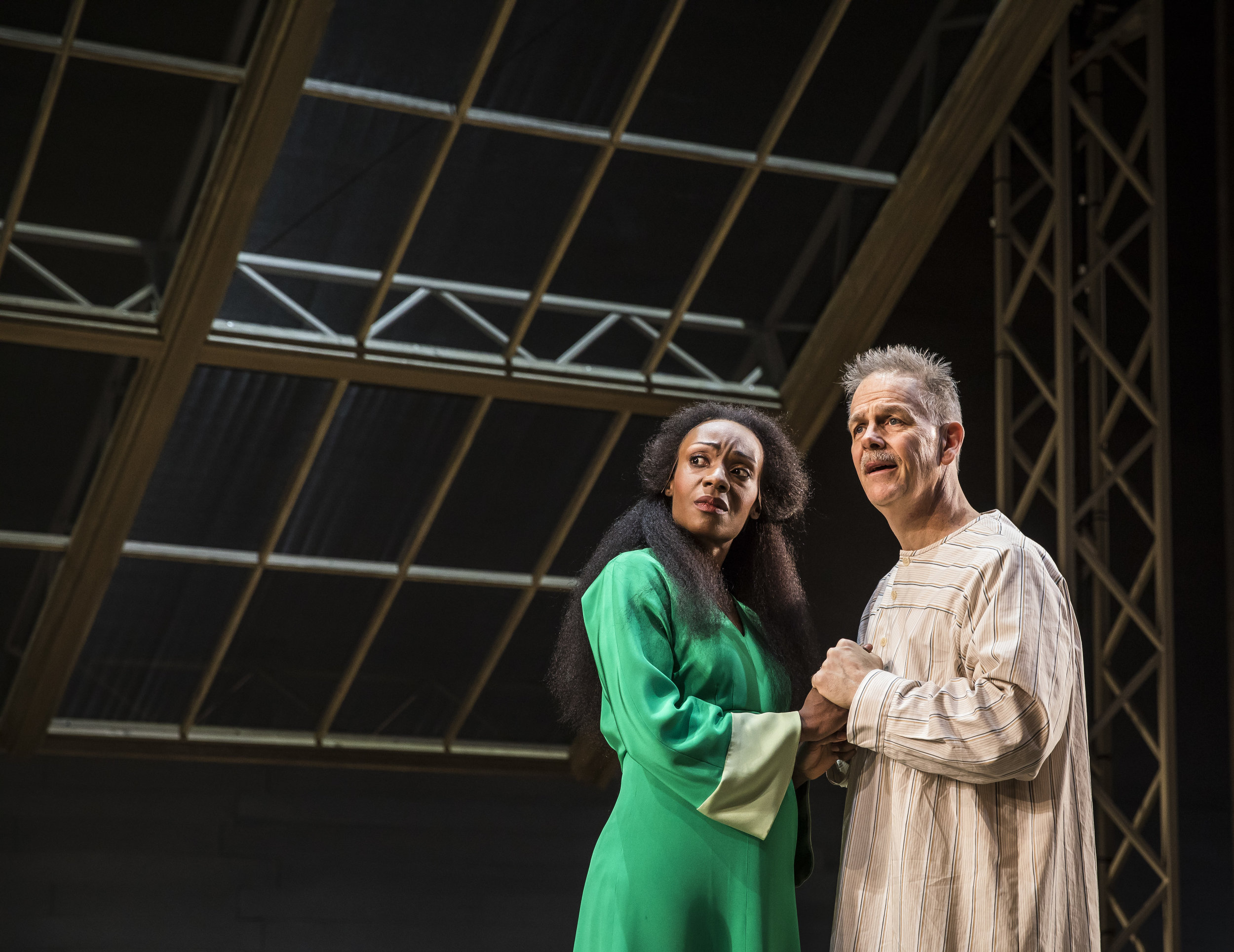 Lanise Antoine Shelley (Katherine) and  Philip Earl Johnson  (Thomas Stockmann) in Goodman Theatre's production of AN ENEMY OF THE PEOPLE