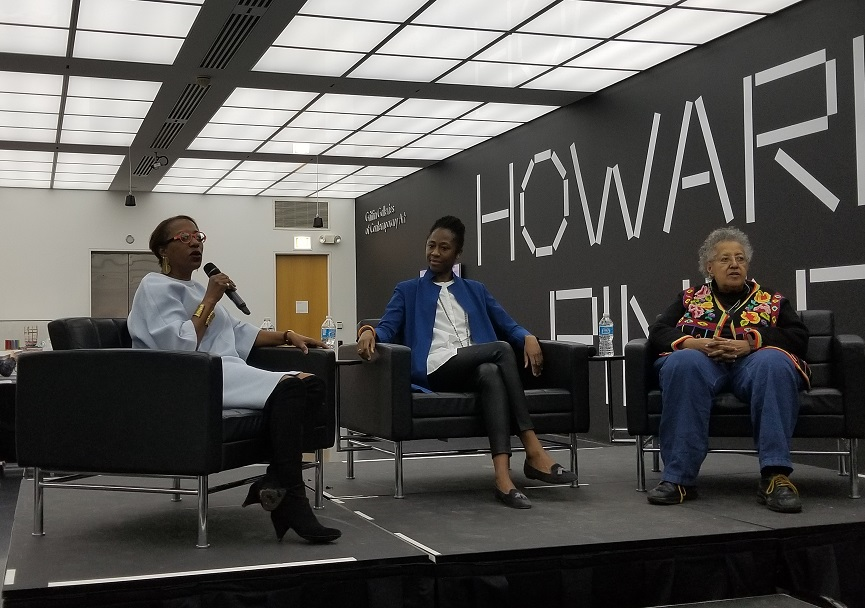 Oliver, Beckwith and Pindell on stage at the MCA for the exhibit's preview event