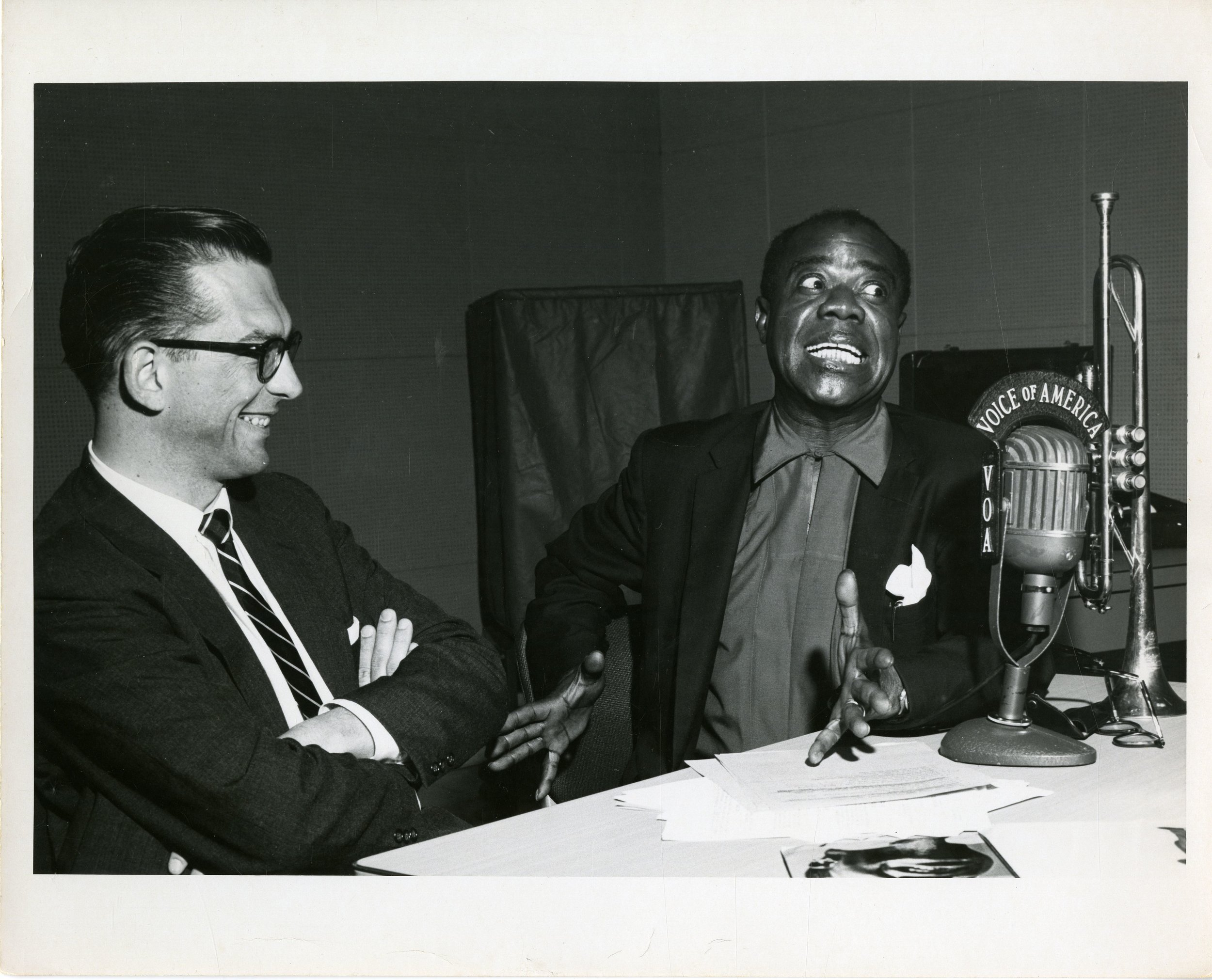"Louis Armstrong hams it up on radio DJ Willis Conover's Voice of America show ""Music USA."" Credit: Courtesy of the Willis Conover Collection, University of North Texas Music Library"