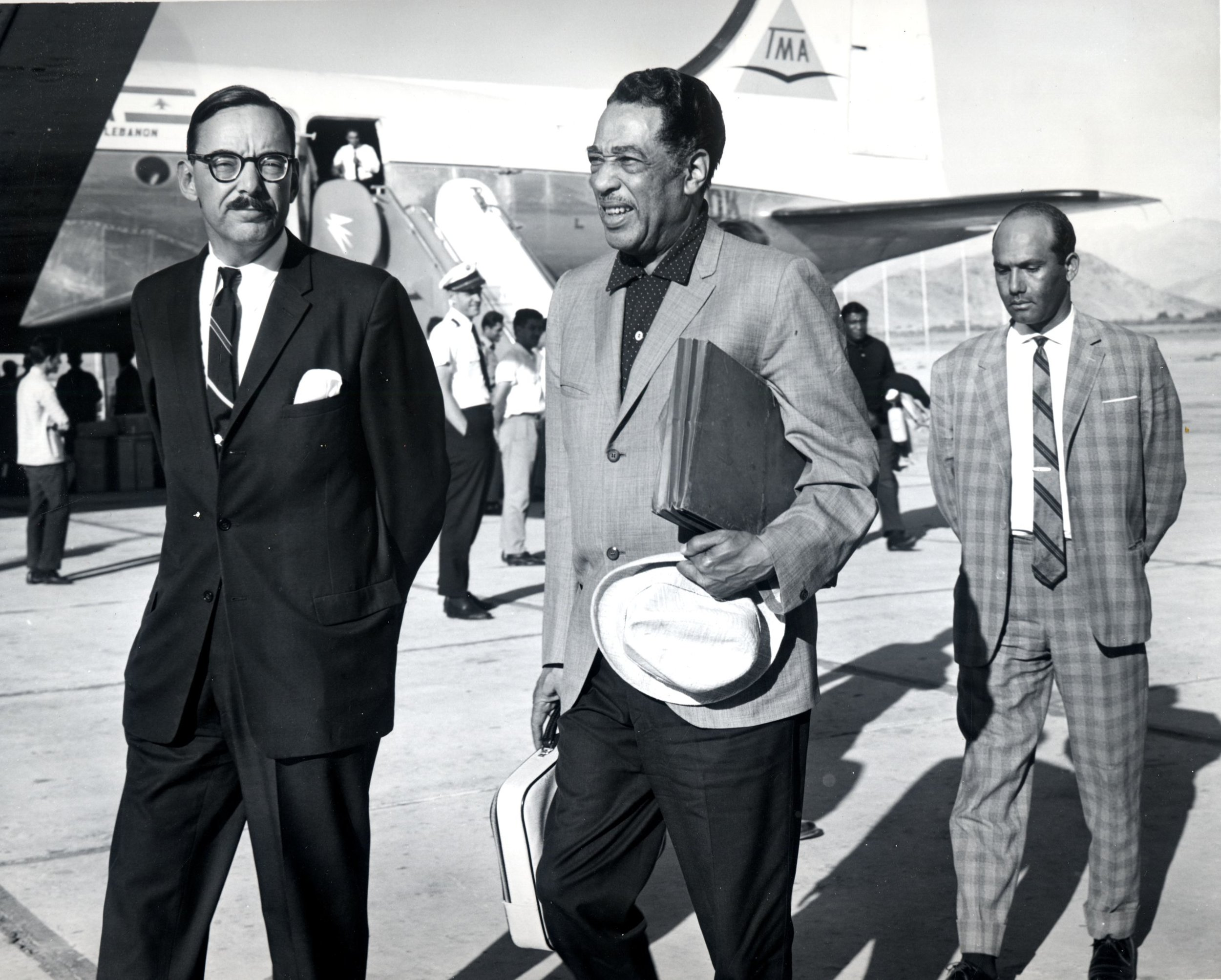 Duke Ellington arrives in Lebanon during his 1963 State Department tour of India and the Near and Middle East. Credit: Courtesy of the J. William Fulbright Collection, University of Arkansas Libraries