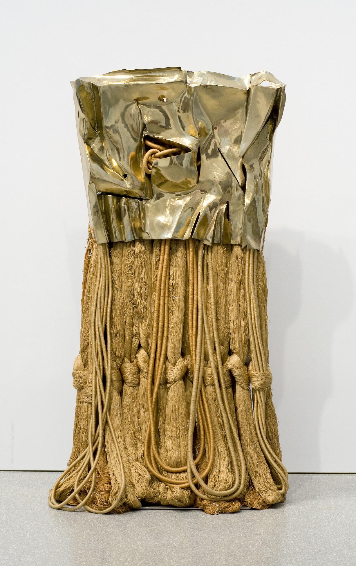 Barbara Chase-Riboud, Little Gold Flag , 2007 (on display at Stony Island Arts Bank) Courtesy of Michael Rosenfeld Gallery LLC, New York, NY