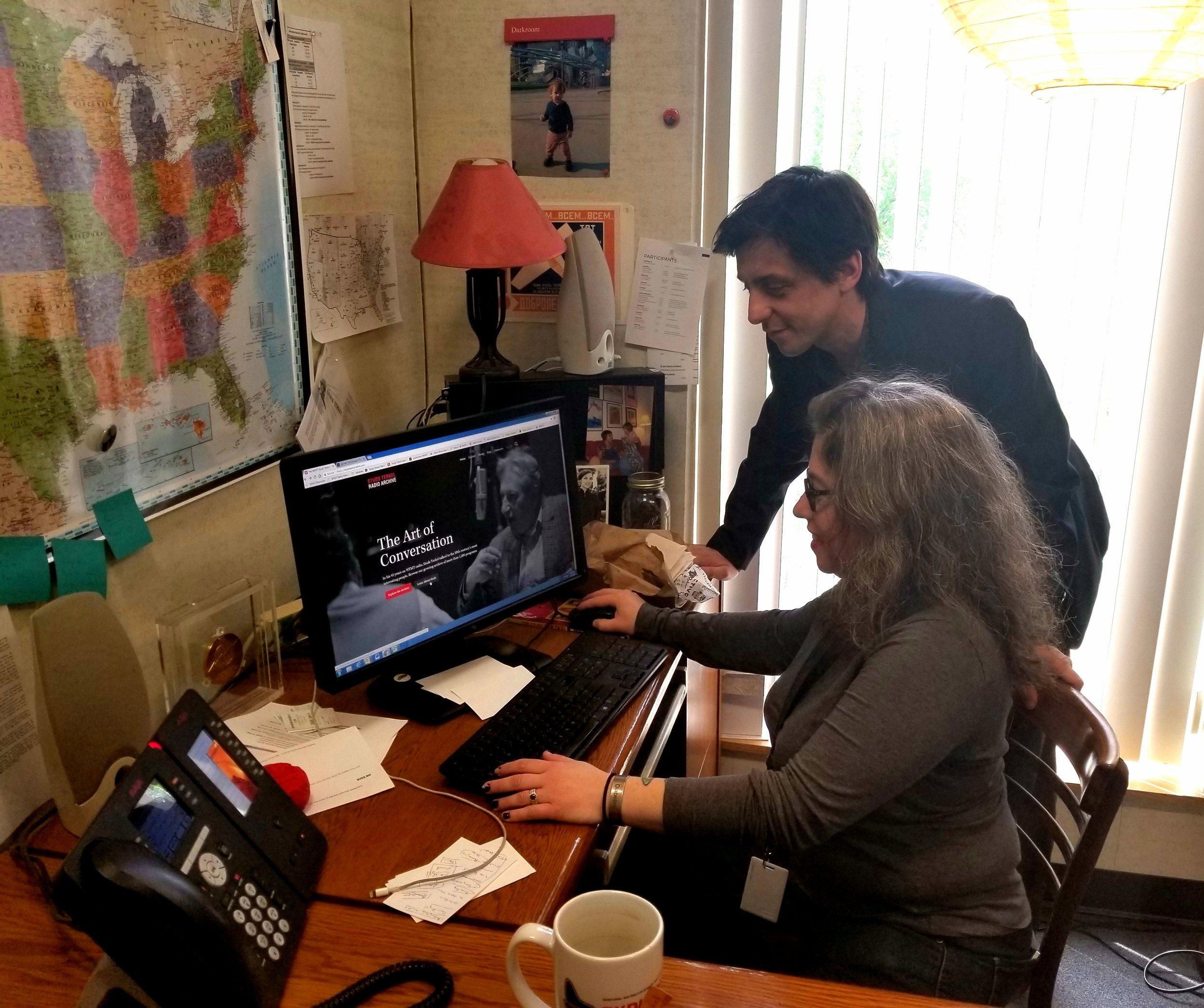 Tony Macaluso, Director of WFMT Radio Network & Studs Terkel Radio Archive and Allison Schein Holmes, WFMT archivist
