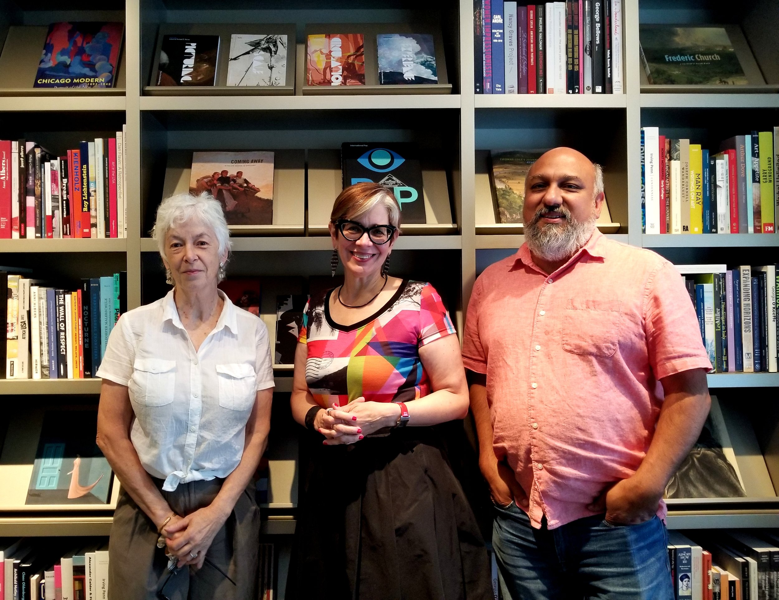 From L to R: Lynne Warren, curator at MCA, Debra Kerr, executive director of Intuit: the Center For Intuitive and Outsider Art and Cesareo Moreno, director of Visual Arts and Chief Curator at the National Museum of Mexican Art.