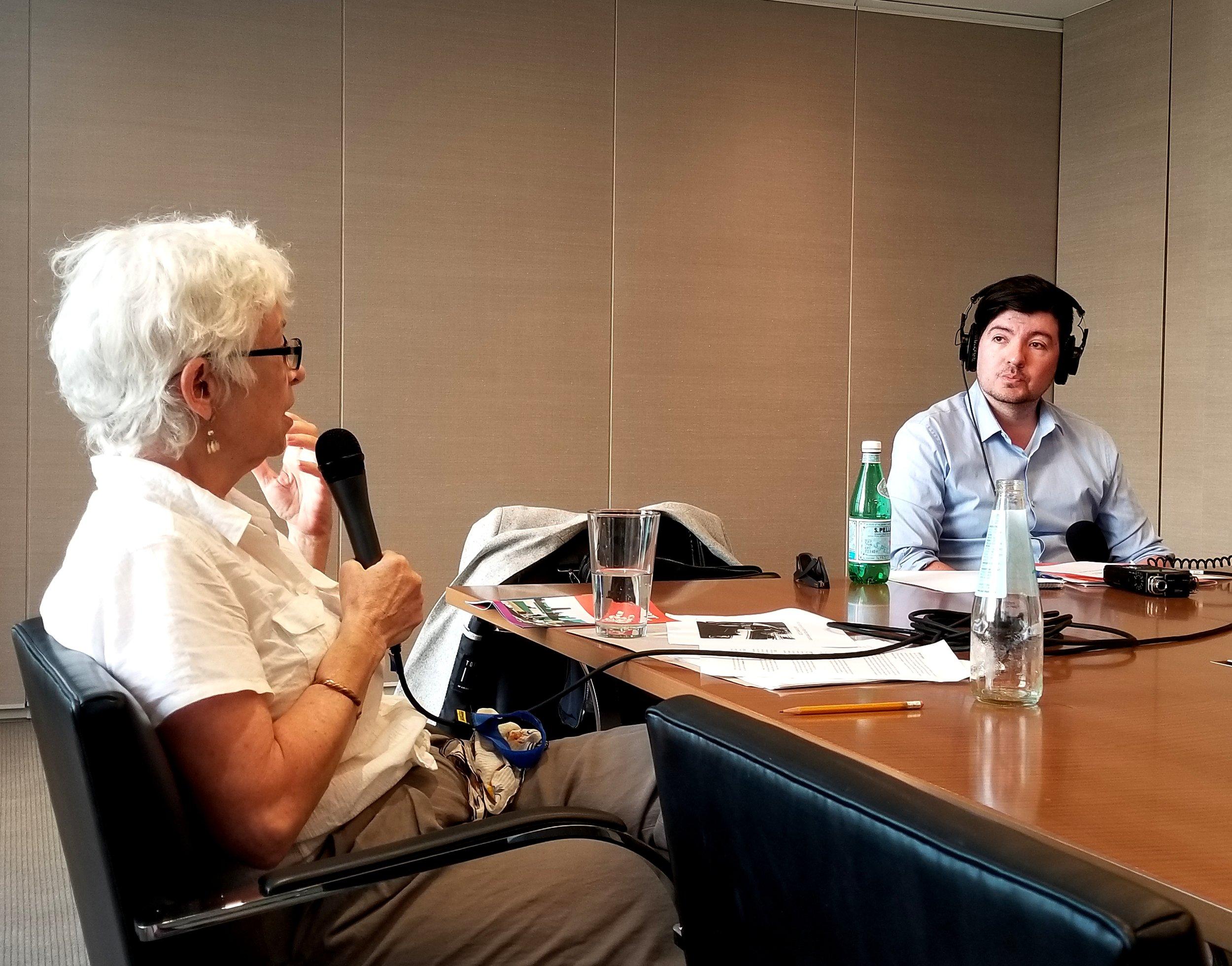 MCA curator Lynne Warren talking to WDCB's Gary Zidek