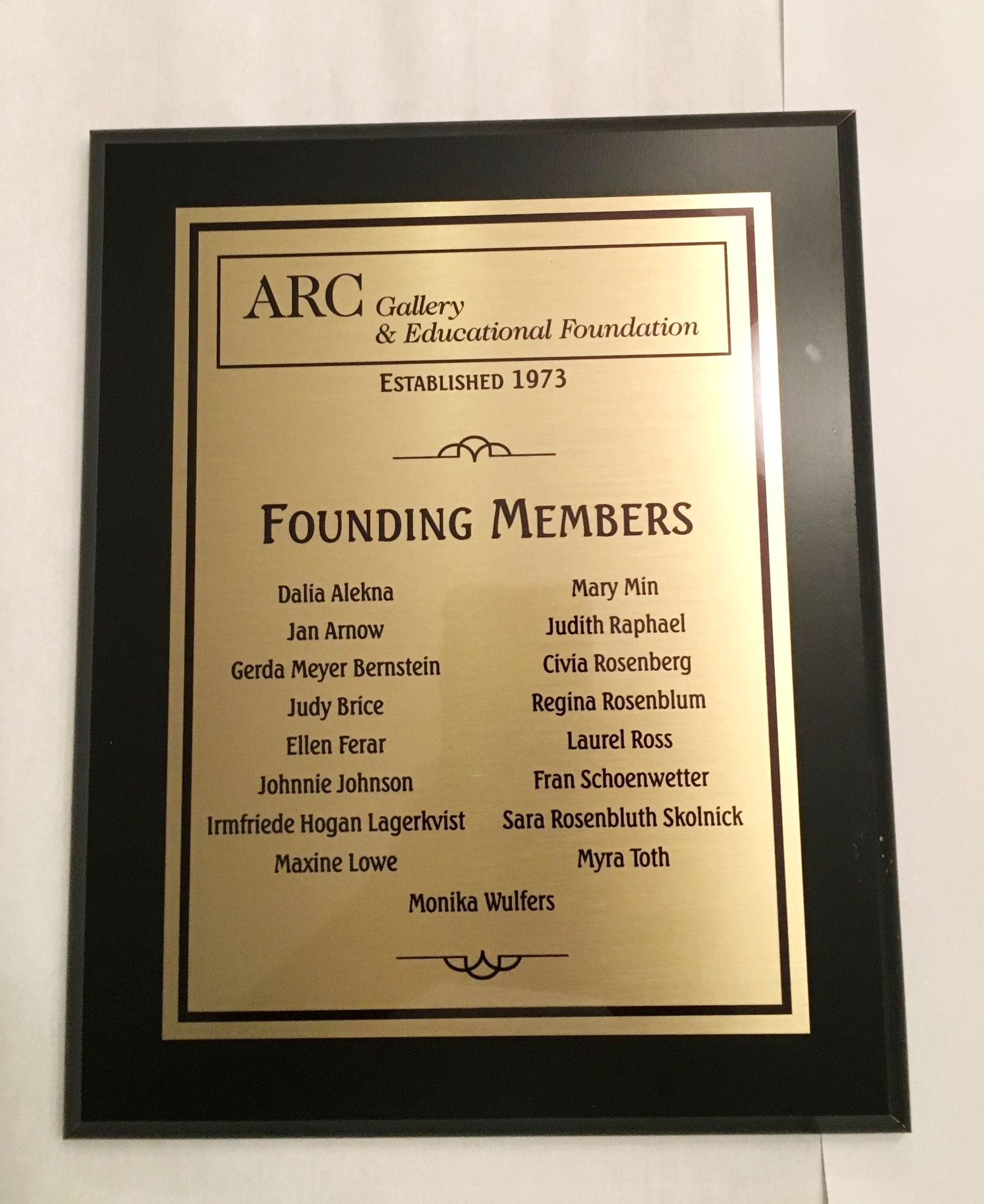 A plaque recognizing the founding members of ARC