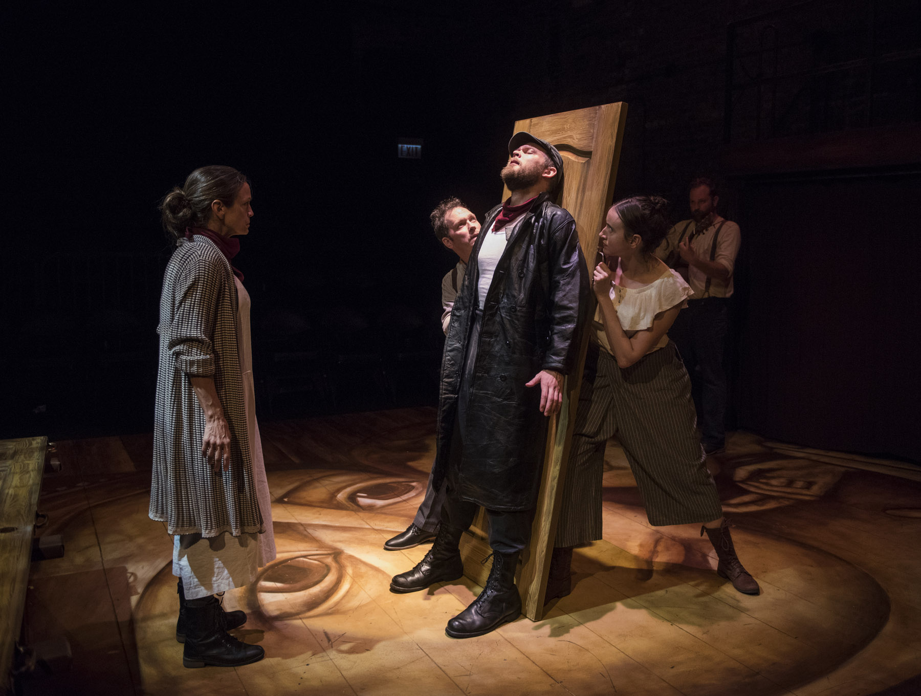 (left to right) Rebecca Jordan, Brad Woodard, Drew Schad, Christina Gorman and Joseph Wiens in Shattered Globe Theatre's production of  CRIME AND PUNISHMENT . Photo by Michael Brosilow.