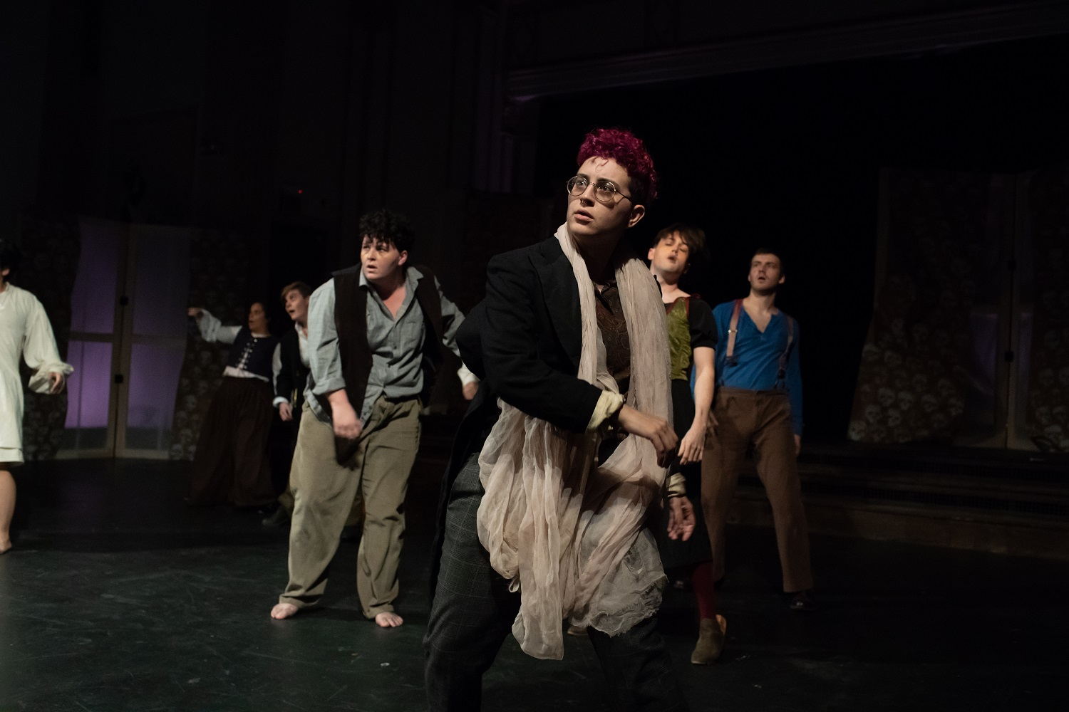 Emilie Modaff as Gui (center) with the cast of  Les Innocents/The Innocents.  Photo credit   Sally Blood