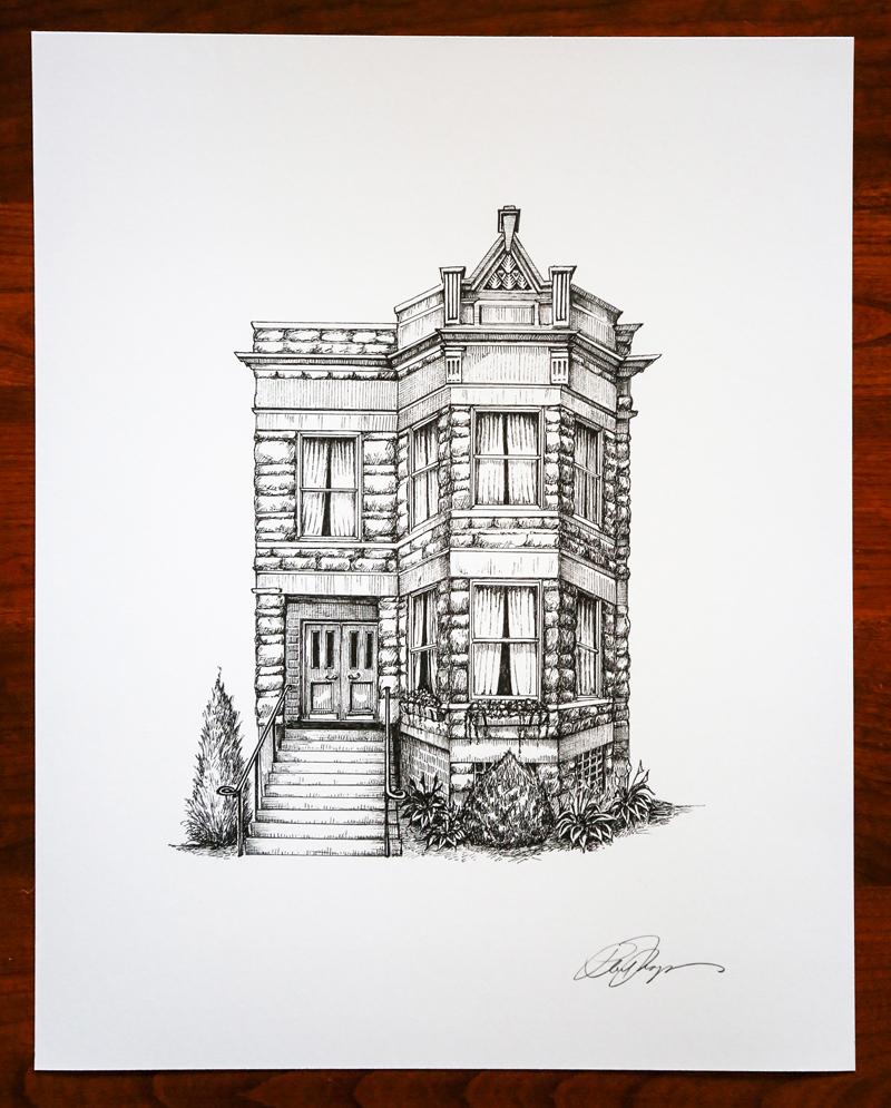 Chicago home portrait by Phil Thompson, Cape Horn Illustration