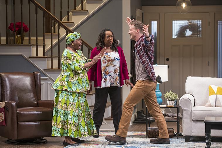 Cheryl Lynn Bruce (Anne), Jacqueline Williams (Margaret Munyewa) and Luigi Sottile (Brad). Photo Credit: Michael Brosilow
