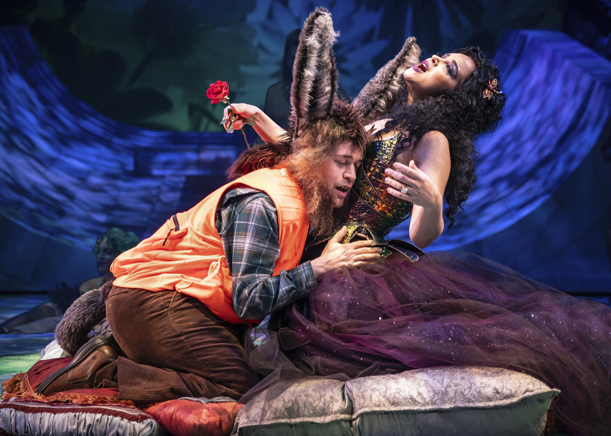 Transformed into a donkey, Nick Bottom (T.R. Knight) nuzzles the ecstatic fairy queen Titania (Alexandra Silber) in Chicago Shakespeare Theater's production of  A Midsummer Night's Dream . Photo by Liz Lauren.