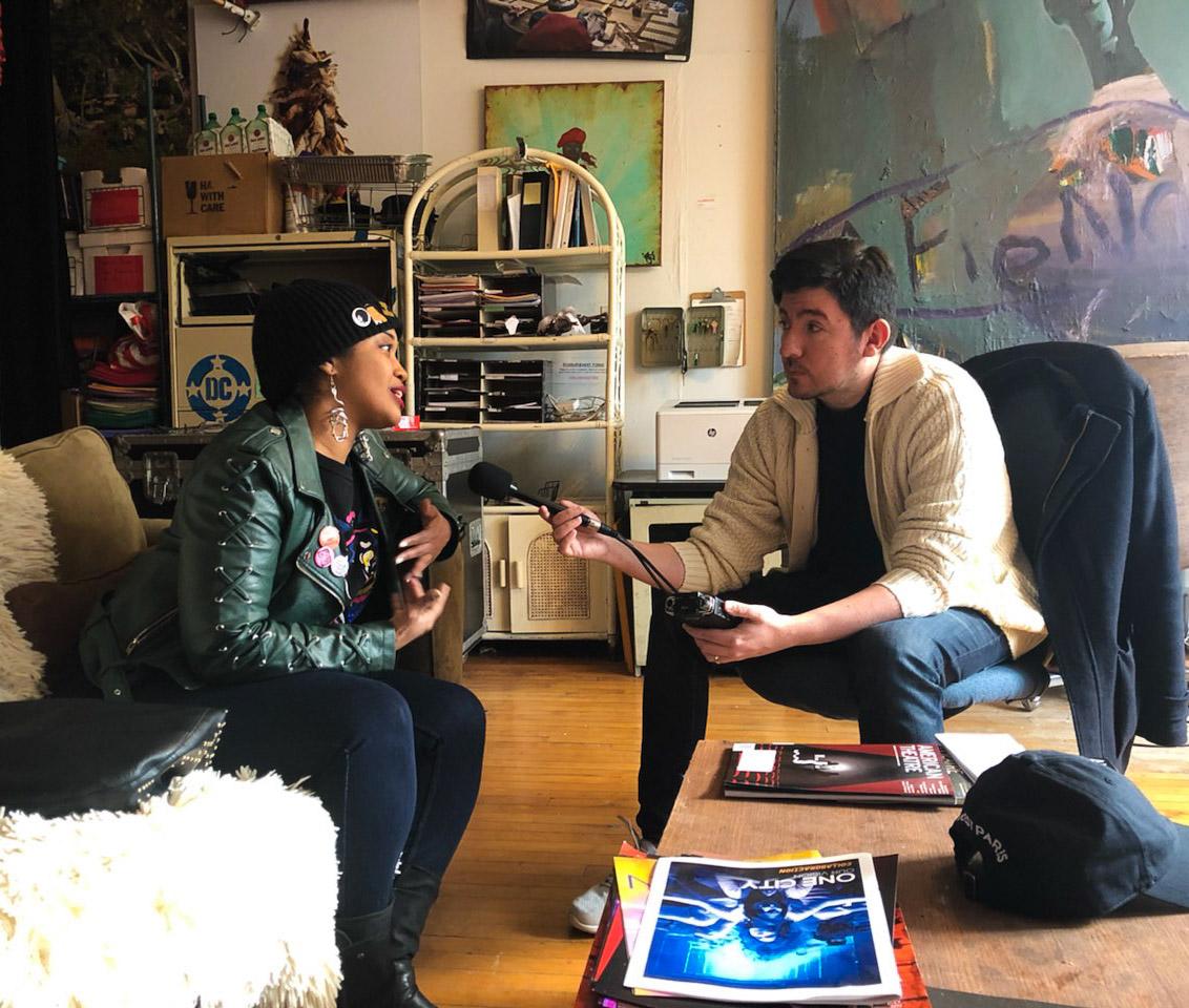 Tonika Johnson talking with WDCB's Gary Zidek