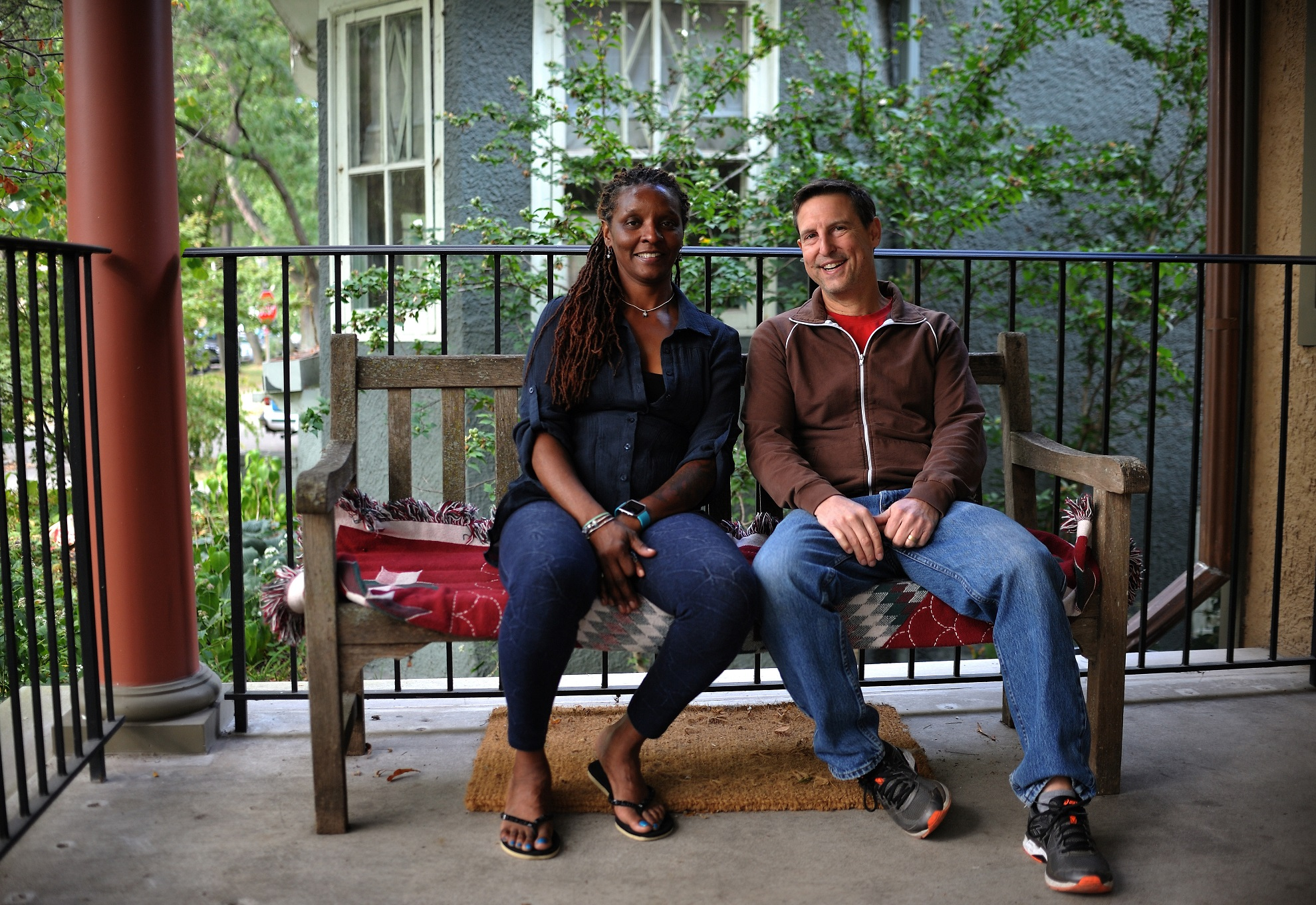 Edgewater resident Wade, sitting with his Folded Map twin Nanette on her porch in the Englewood community. Courtesy of Tonika Lewis Johnson.