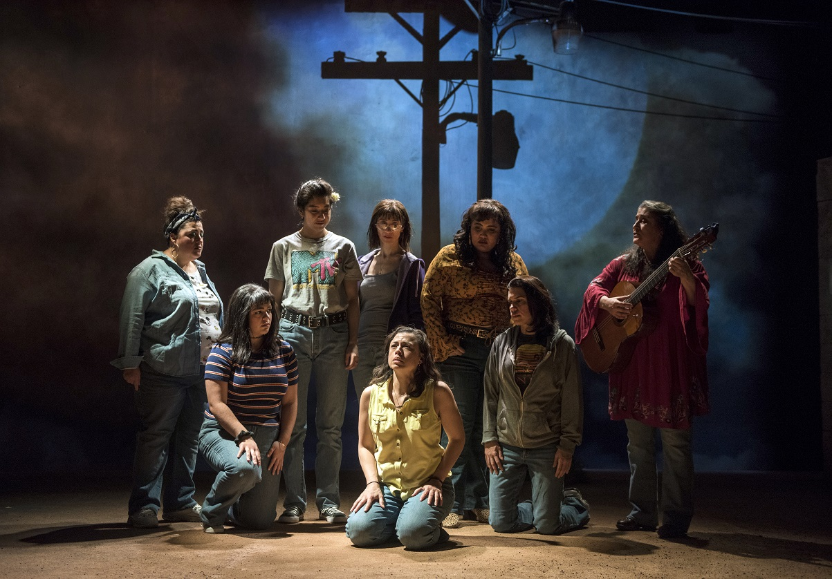Pictured (Front, Left to Right)  Isabella Gerasole  (Women of Juarez),  Sandra Delgado  (Yoli) and  Alice da Cunha  (Women of Juarez); Pictured (Rear, L to R)  Mari Marroquin  (Zaide),  Cher Álvarez  (Brenda),  Charín Alvarez  (Marisela), ensemble member  Karen Rodriguez  (Ivonne) and  Laura Crotte  (Desamaya) in Steppenwolf's  LA RUTA. Photo credit  Michael Brosilow