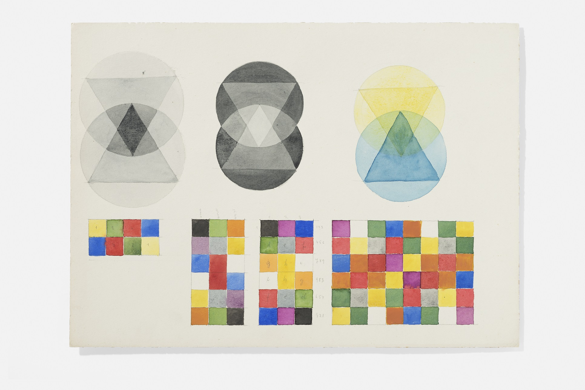 "Marianne Ahlfeld- Heymann (attributed), exercise from the class""pictorial form theory"" by Paul Klee, 1923 –24, drawings. Photo credit : A. Körner, bildhübsche Fotografie, Institut für Auslandsbeziehungen"
