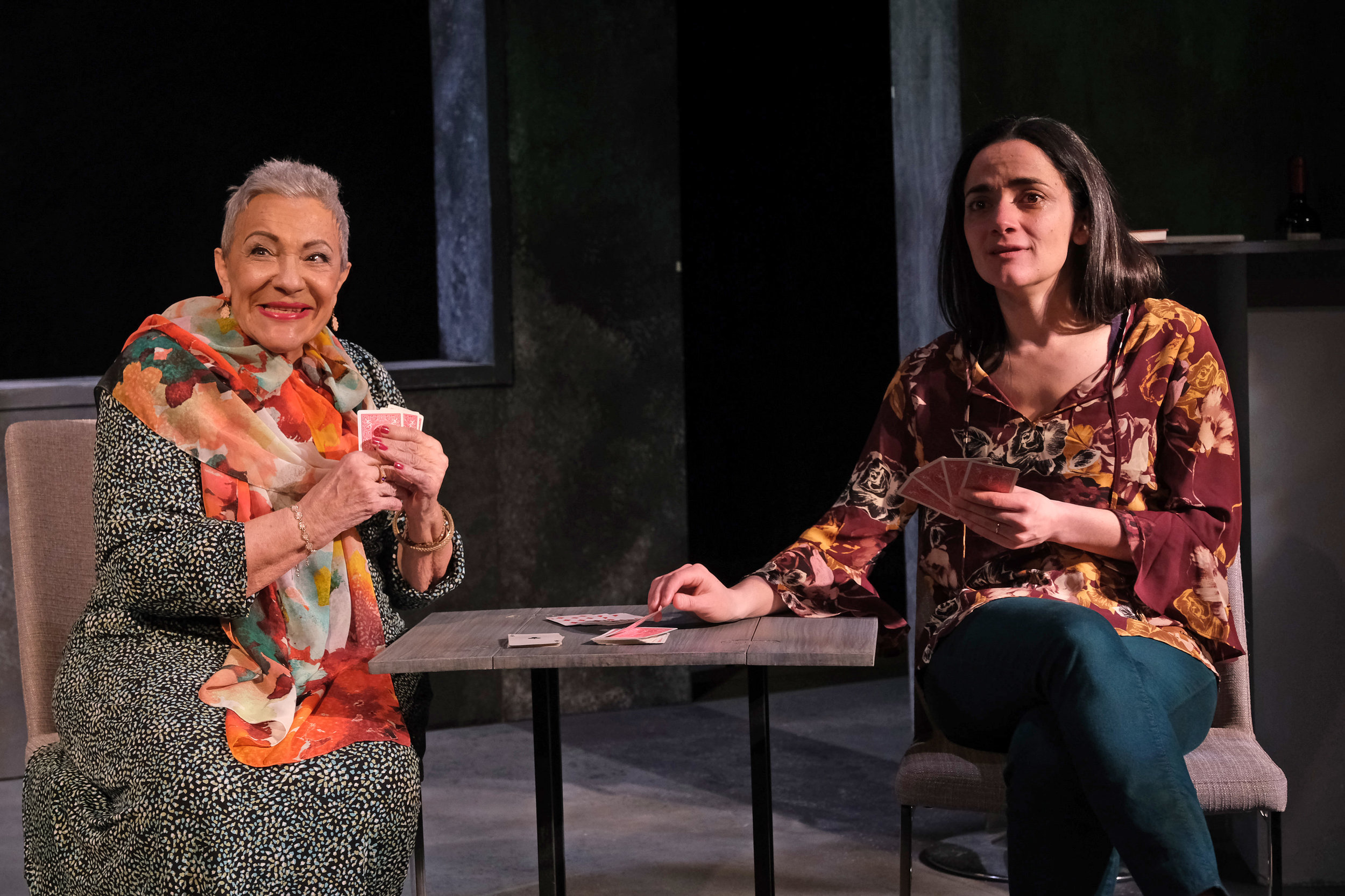 Alba Guerra (left) plays Carolina and Cruz Gonzalez Cadel is Gabriela in Teatro Vista's THE ABUELAS. Photo credit: Joel Maisonet