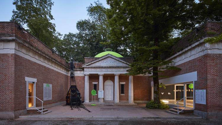 The outside of the U.S. Pavilion at the 2018 Venice Architecture Biennale
