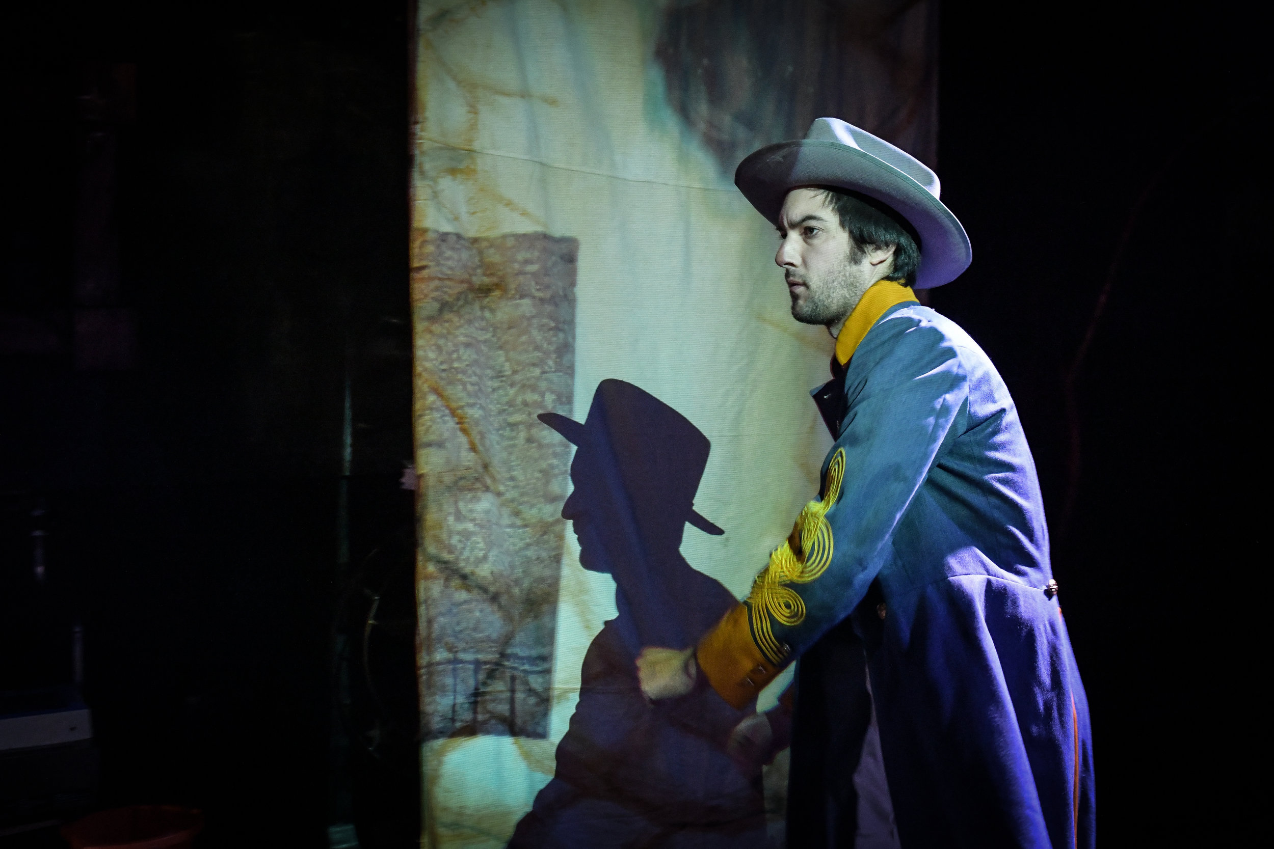 An image from the Neo-Futurists' world premiere REMEMBER THE ALAMO